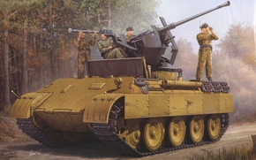 picture, The German, Antiaircraft, self-propelled, installation, (ZSU), On the basis of, Medium-heavy tank