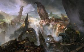 арт, фантастический мир, статуи, птицы, орлы, гигантские, ущелье, город, водопад, человек