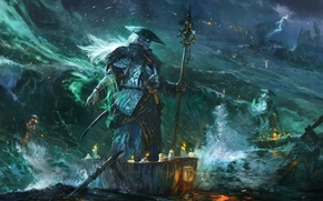 Art, sea, storm, Boat, spirit, Candles, hat, staff, Lightning
