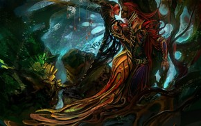 Arte, Fantasia, foresta, ragazza, tipo, albero, Maga, magia, elfo, Cristalli
