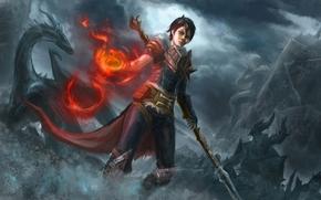 Art, Hawke, girl, mage, dragon, battle, magic, staff, fire, orc, army, statue, sculpture, kirkvoll