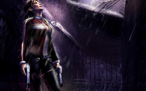Lara Croft, girl, rain, suit, Guns, lightning, branch.