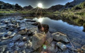 река, камни, природа