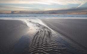 природа, море, пляж, след