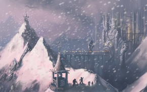 Art, Mountains, snow, people, city, bridge, sculpture, face, mouth, input, lights