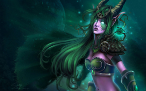 Art, night elf, Druid, girl, Horn, cloak, plant, scope, month, branch, eyes