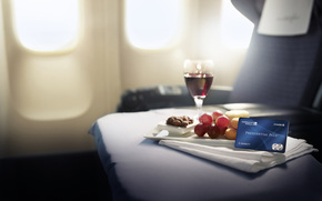 wine, goblet, red, credit card, map, grapes, Nuts, table, plane, chair