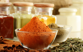 spices, seasoning, dishes, cans, paprika, cinnamon, star anise, Spices