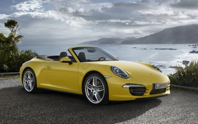porshe.karerra, Supercar, yellow, front, coast, Mountains, sky, clouds, porsche