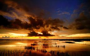 sunset, sea, columns, fence, clouds, sunset, Grid