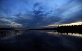 Karelia, sera, tramonto, lago, nuvole