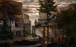 艺术, 幻想, 山, 岩石, 城堡, 人, 桥, 动物
