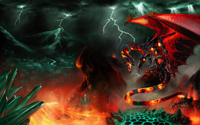 Art, dragon, lava, Lightning, Mountains, Crystals