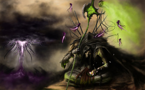 Art, monster, death, hood, spirit, the soul, braid, Lightning, clouds, Tentacles, flower, Lotus