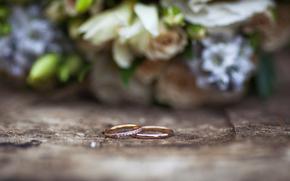 свадьба, букет, кольца, макро