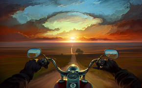Art, road, hands, sunset, motorcycle, Bike, clouds, Trees