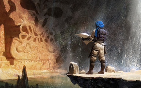 Art, cave, waterfall, wayfarer, Arab, turban, map, water, stones, mug, sculpture, stone, backpack, roll, spray