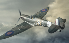 Art, plane, in the sky, flight, retro, supermarine, spitfire, fighter, Interceptor, scout