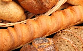 корзина, хлеб, выпечка, багет, мак, ломти