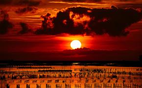 sunset, sea, sun, columns, fence, Grid, clouds, kontsrast