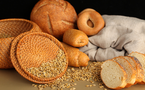 корзина, хлеб, выпечка, булочки, бублики, зерно