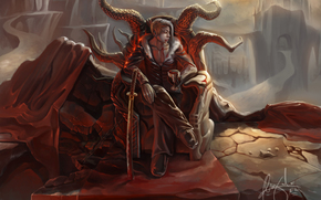 Art, guy, daemon, goblet, blood, throne, rocks, stones, sword, chain, Horn