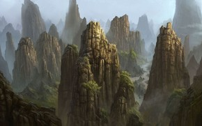 Art, Mountains, rocks, Trees, river, fog