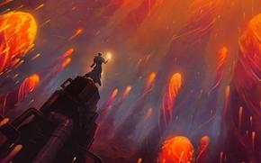 Art, column, Pipe, guy, scope, magic, fire