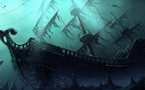 Arte, nave, sott'acqua, profondit, relitto, istioforo, pesce