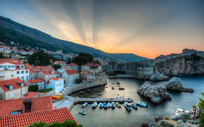 camedrio, Croacia, baha, barcos, salida del sol, panorama, paisaje