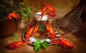goblet, beer, foam, snack, crayfish