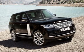 Автомобиль, Обоя, Черный, Лэнд, Ровер, Море, Машина, Стоит, Передок, Land Rover