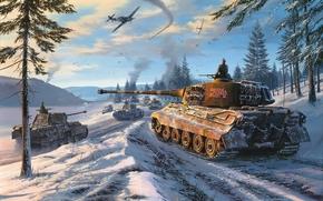 рисунок, лес, зима, снег, колонна, небо, самолеты, мессершмитт, танки, средний танк, пантера, тяжелый танк