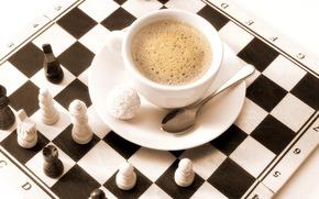 кофе, капучино, конфета, рафаэлло, блюдце, ложка, шахматы, доска, фигуры