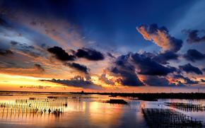 sunset, clouds, clouds, sea, columns, Grid