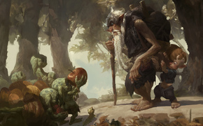 Art, forest, Goblins, old man, elder, child, boy, wayfarer, apple, backpack, Caterpillar