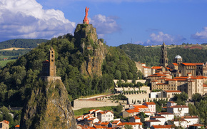 France, Mountains, statue, building, city
