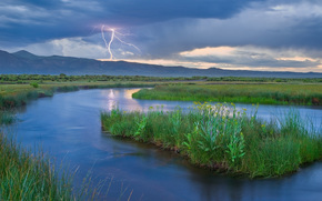 river, Mountains, lightning, element, nature