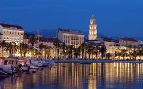 split, Croatia, embankment, bay, boats, Boat, building, night city, Palms