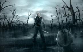 The Witcher, Sapkowski, Geralt, swamp, utoptsev, Fan Art