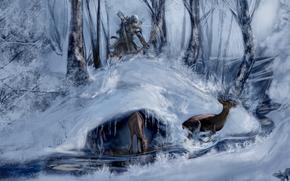 Connor, Assassino, inverno, foresta