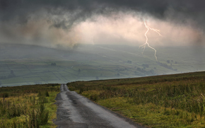 road, field, lightning, clouds