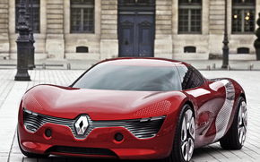 machinery, Concept, Car, red, Street, building, architecture., Renault