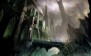 Art, castle, bridge, army, horse, Riders, weapon, fortress