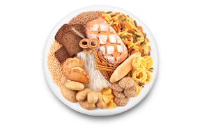 тарелка, фунчоза, хлеб, выпечка, макароны, паста, хворост, зерно, ломти, чёрный хлеб