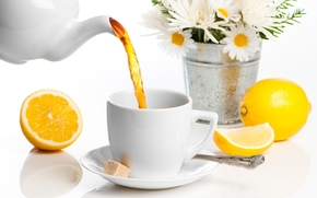 pail, Flowers, Daisies, saucer, scoop, cup, Kettle, lemon, sugar, tea, drink