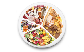 plate, milk, meat, fish, saveloy, Sausages, cheese, funchoza, bread, baguette, Drying, burgers, spaghetti, brushwood, vegetables, Eggplant, tomatoes, cabbage, asparagus, broccoli, cucumbers, radish, mushrooms, carrots, onion, fruit, grapefruit, apples, or