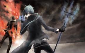 anime, Art, teacher-Mafia Reborn, Mukuro Rokudo, Ringbearer Mist vongole, Sawada tsunaesi, tenth boss vongole, keeper of the ring of the sky vongole