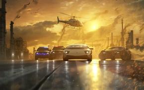 Arte, macchinario, gara, inseguimento, polizia, strada, elicottero, tramonto, tubo, fumare