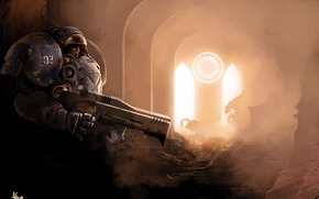 landing, Power Armor, weapon, Zerg, Arch, glare